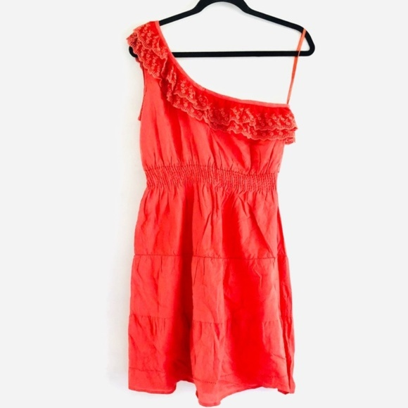 new glory Dresses & Skirts - new glory Coral One Sided Ruffle Peasant Dress nwt